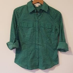 Michael Kors green pattern button up top